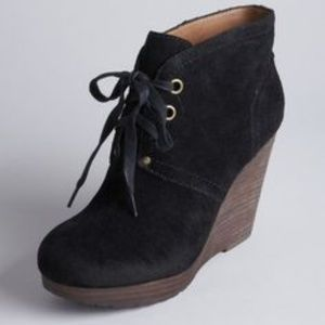 Lucky Brand Norice Black Suede Wedge Booties 7M